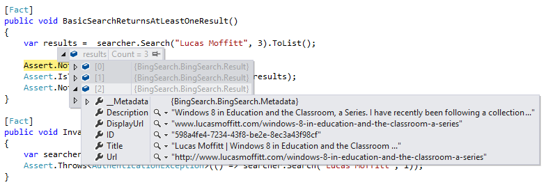 Bing Results Example